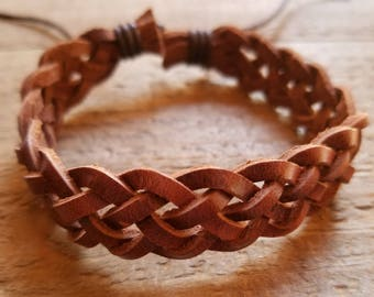 Handmade Brown Leather Cuff Bracelet Weave Brown Native American Style Fashion