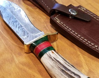 Hunting Knife Deer Antler Handle Damascus Stag Horn Outdoors (A182)