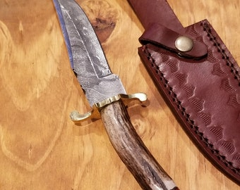 Hunting Knife Deer Antler Handle Damascus Stag Horn Outdoors (K194)
