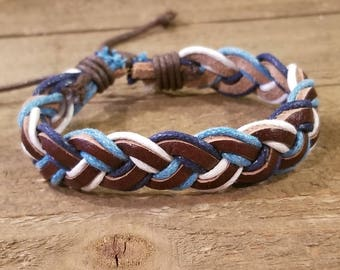 Brown Blue Braided Leather Adjustable Bracelet Native American Style Fashion Cuff Boho Hippie (B72)