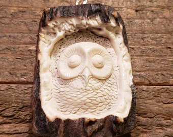 Real Deer Antler Carved Owl Pendant Necklace Tribal Stag Jewelry Rustic Hunting Nature Wild (N241)