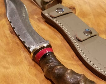 Ram Horn Handle Hunting Knife Damascus Blade With Leather Sheath Premium Bowie (A259)