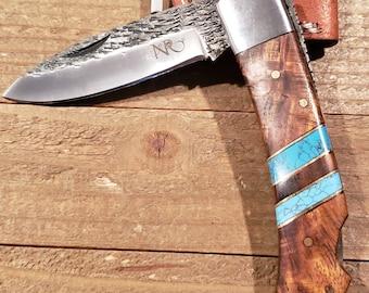 Folding Pocket Knife Rose Wood Turquoise Handle Hammered Steel Blade Outdoors Tools (P5)