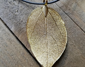 24k Gold Dipped Real Walnut Leaf Pendant Leather Necklace Outdoor Rustic Nature Earth Jewelry