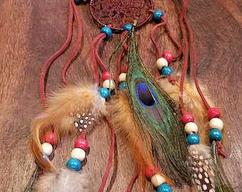 Peacock Feather Headdress Native American Boho Style Hippie Peace Nature Outdoors Fashion (HB6)