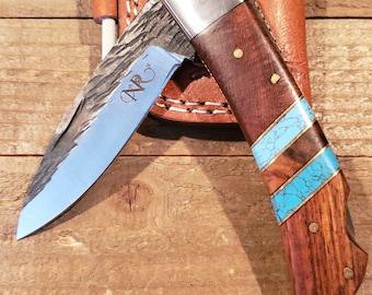 Folding Pocket Knife Rose Wood Turquoise Handle Hammered Steel Blade Outdoors Tools (P4)