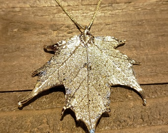 Gold Dipped Real Maple Leaf Chain Necklace Pendant Nature Jewelry (N585)
