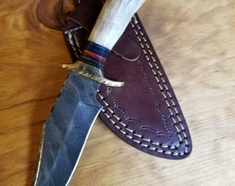 Hunting Knife Deer Antler Handle Damascus Stag Horn Outdoors (A13)