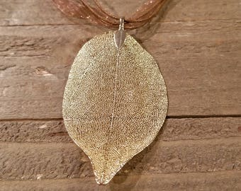 24k Gold Dipped Walnut Leaf Brown Ribbon Necklace Outdoor Rustic Earth Nature Collection (N29)