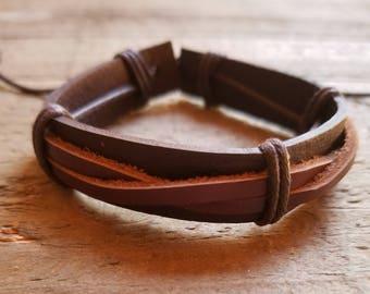 Dark Brown Leather Weaved Brown Bracelet Native American Style Fashion Cuff