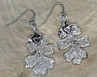 Fine Silver Dipped Real Oak Tree Leaf Drop Dangle Earrings Nature Outdoor Earth Jewelry Beautiful (E166)