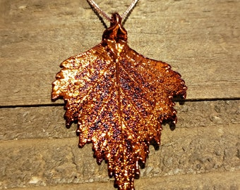 Iridescent Copper Dipped Birch Leaf Necklace Pendant Nature Jewelry (N587)