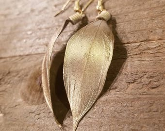Real Gold Dipped Feather Earrings Drop Down Dangle Native American Earth Jewelry Hippie Boho Natural Style (E88)
