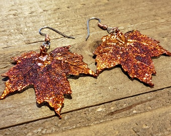 Iridescent Copper Dipped Real Maple Tree Leaf Dangle Earrings Nature Jewelry (E285)