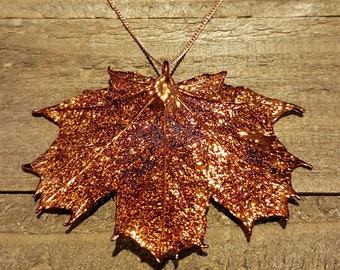 Iridescent Copper Dipped Maple Leaf Necklace Pendant Nature Jewelry (N589)
