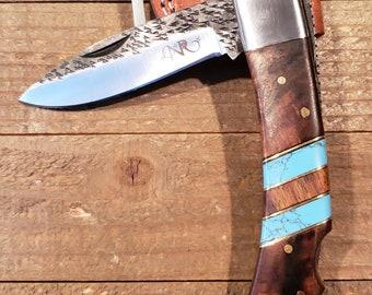 Folding Pocket Knife Rose Wood Turquoise Handle Hammered Steel Blade Outdoors Tools (P3)