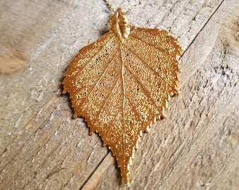 24k Gold Dipped Real Birch Leaf Choker Necklace Pendant Outdoor Rustic Nature Earth Jewelry Wild Boho Fashion
