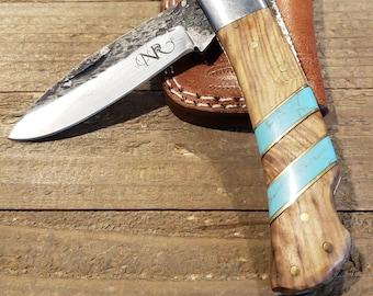 Folding Pocket Knife Olive Wood Turquoise Handle Hammered Steel Blade Outdoors Tools (P16)