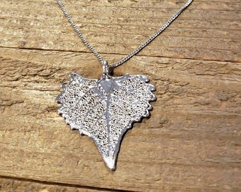 Fine Silver Dipped Real Cottonwood Leaf Necklace Pendant Outdoor Nature Jewelry (N603)