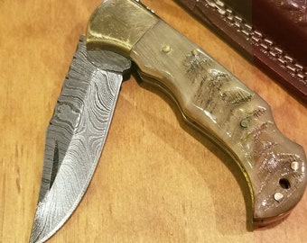 Ram Horn Folding Pocket Knife Damascus Blade With Leather Sheath Premium (K263)