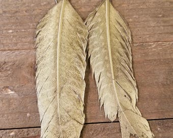 Gold Painted Real Feather Drop Down Dangle Earrings Natural Native American Style Collection Nature Jewelry Hippie Earth Boho (E95)