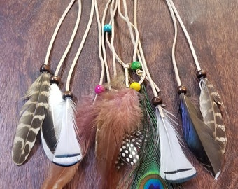 Tan Multi Color Turkey Peacock Feather Headdress Native American Boho Style Hippie Peace Nature Outdoors Fashion (HB30)