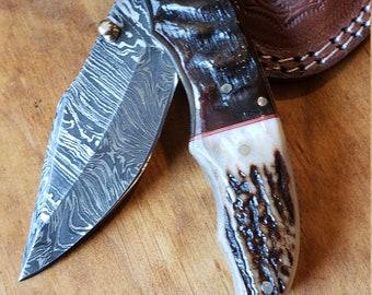 Folding Pocket Knife Deer Antler Stag & Ram Horn Damascus Outdoor Tools (K651)