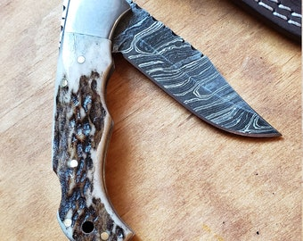 Deer Antler Folding Pocket Knife Damascus Blade Stag Horn Leather Sheath Premium Outdoors Tools (K674)