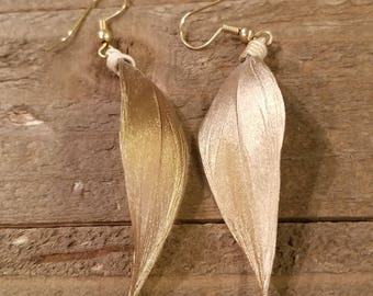 Gold Dipped Feather Earrings Drop Down Dangle Native American Earth Jewelry Hippie Boho Natural Style (E89)