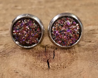 Blood Red Druzy Crystal Stone Stud Earrings Style Fashion Nature Natural Earth Jewelry (E85)