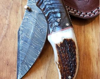 Folding Pocket Knife Deer Antler Stag & Ram Horn Damascus Outdoor Tools (K639)