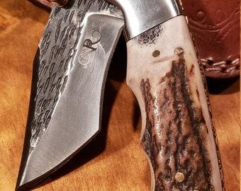 Folding Pocket Knife Deer Antler Stag Horn Hammered Steel Outdoors Tools (J20)