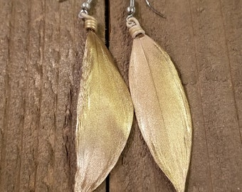 Gold Dipped Feather Earrings Drop Down Dangle Native American Earth Jewelry Hippie Boho Natural Style (E109)