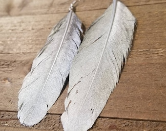 Real Silver Painted Feather Drop Down Dangle Earrings Natural Native American Style Collection Nature Jewelry Hippie Earth Boho (E92)