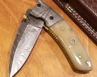 Bone Handle Folding Pocket Knife Damascus Blade Leather Sheath Outdoors (K268)