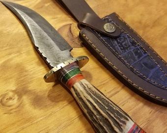 Hunting Knife Deer Antler Handle Damascus Stag Horn Outdoors (K29)