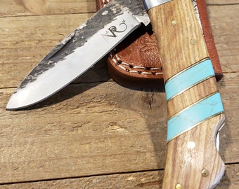Folding Pocket Knife Olive Wood Turquoise Handle Hammered Steel Blade Outdoors Tools (P15)