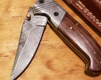 Rose Wood Handle Folding Pocket Knife Damascus Blade Leather Sheath Outdoors (K249)
