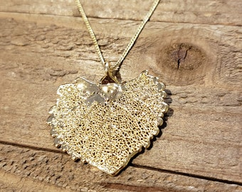 24k Gold Dipped Real Cottonwood Leaf Necklace Pendant Outdoor Nature Jewelry (N604)