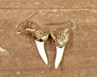 24K Gold Dipped Real Shark Tooth Dangle Earrings Drop Down Ocean Sea Surf Collection Outdoor Rustic Fishing (E143)