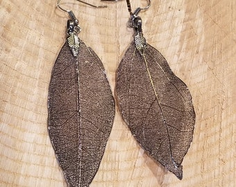 Real Black Alloy Dipped Leaf Dangle Earrings Nature Outdoor Earth Jewelry Beautiful (E180)