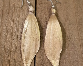Gold Dipped Feather Earrings Drop Down Dangle Native American Earth Jewelry Hippie Boho Natural Style (E108)