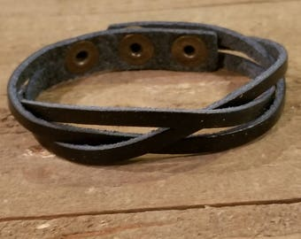 Black Leather Weaved Bracelet Adjustable with Snaps Native American Style Fashion Cuff Boho Hippie (B49)