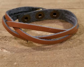 Light Brown Leather Weaved Bracelet Adjustable with Snaps Native American Style Fashion Cuff Boho Hippie (B52)