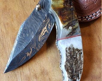 Folding Pocket Knife Deer Antler Stag & Ram Horn Damascus Outdoor Tools (K652)