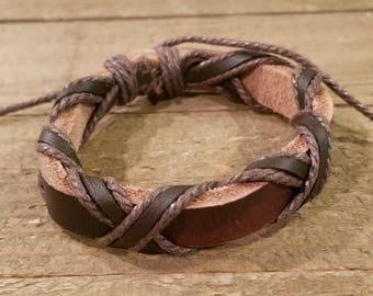 Brown Leather Weaved Bracelet Native American Style Fashion Cuff Boho Hippie (B68)