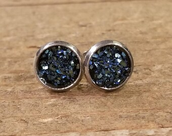 Midnight Druzy Crystal Stone Stud Earrings Style Fashion Nature Natural Earth Jewelry (E83)