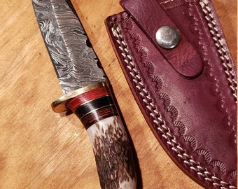 Hunting Knife Deer Antler Handle Damascus Stag Horn Outdoors (K686)