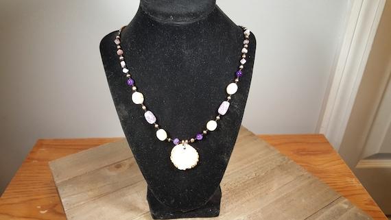Real Deer Antler Burr Cap Handmade Necklace Multiple Bead