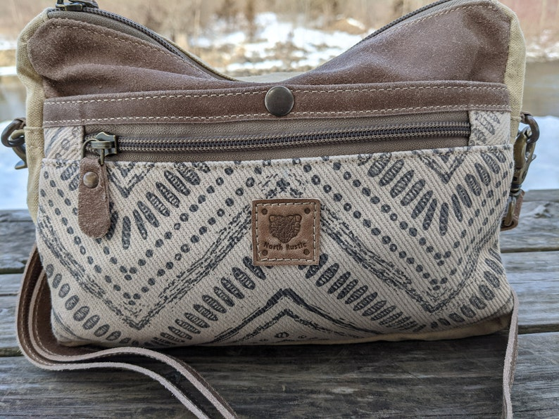 Canvas Real Leather Purse Real Leather Cross Body Women Outdoors Country Real Leather Handmade Bag LB02